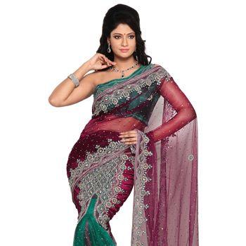 Magenta and Sea Green Net Lehenga Style Saree with Blouse