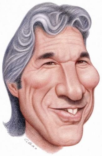 Funny Caricatures of Famous People | Cartoon: Richard Gere (medium) by Gero tagged caricature