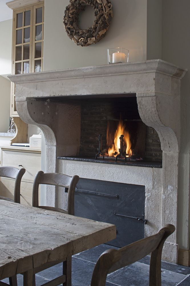 Kitchen stone fireplace.>>