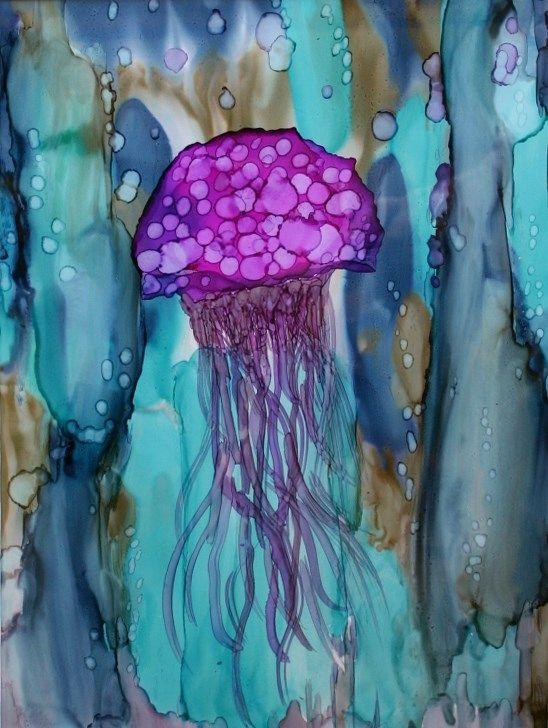 AI on Yupo - jelly fish