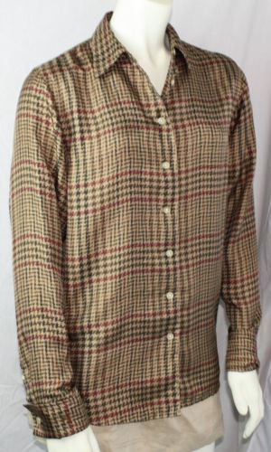 Ralph-Lauren-Womens-Silk-Button-Front-French-Cuff-Houndstooth-Blouse-Size-Small