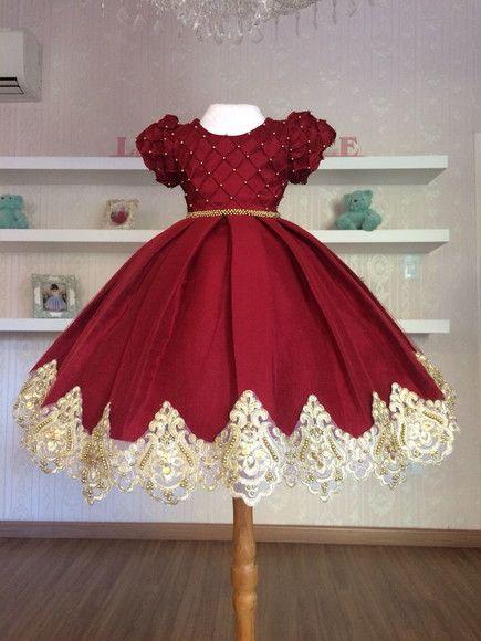 4651582c97 Compre Vestido de Luxo Marsala com Dourado - Infantil no Elo7 por R  498