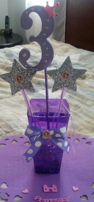 15 best diy princess sofia decorations images on pinterest disney party ideas sofia the first party center pieces solutioingenieria Image collections