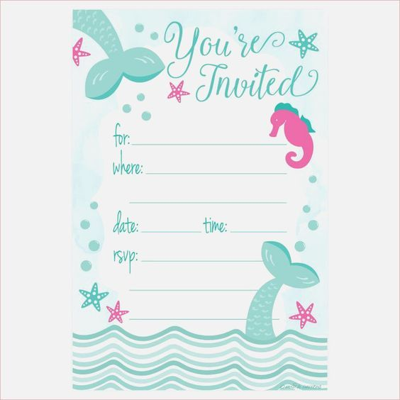 image regarding Printable Party Invite named absolutely free printable mermaid birthday occasion invites easiest 25
