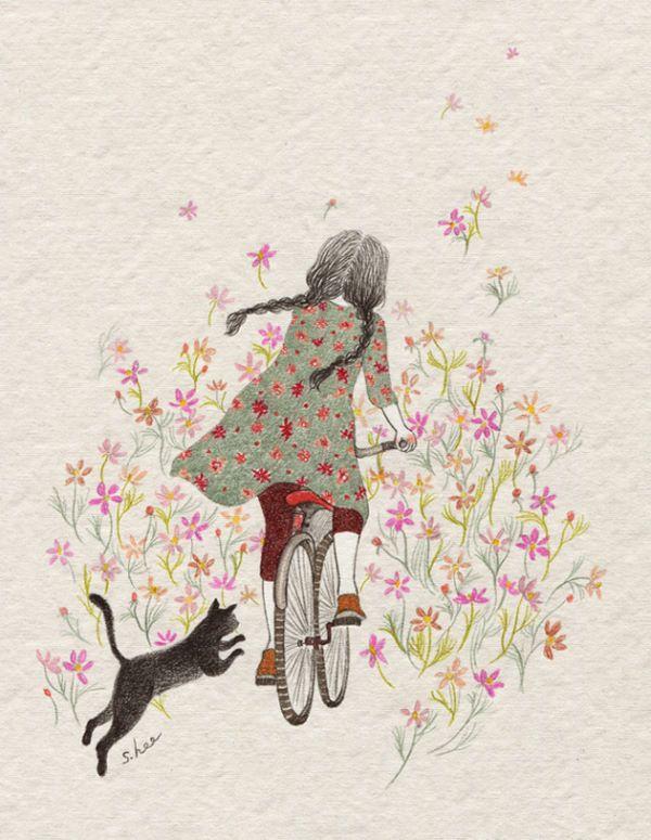 코스모스 난 길로 자전거를 타곤 했던 반짝이던 가을날들......