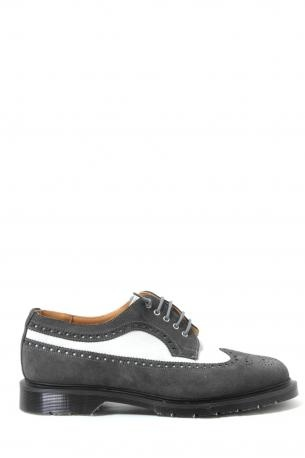 Solovair Shoes - charcoal / white 5 eye brogue shoe - suede shoes made ​​in England. Grey and white color. Derby closure. Rubber sole. Leather interior. Solovair Collection Spring Summer 2013.