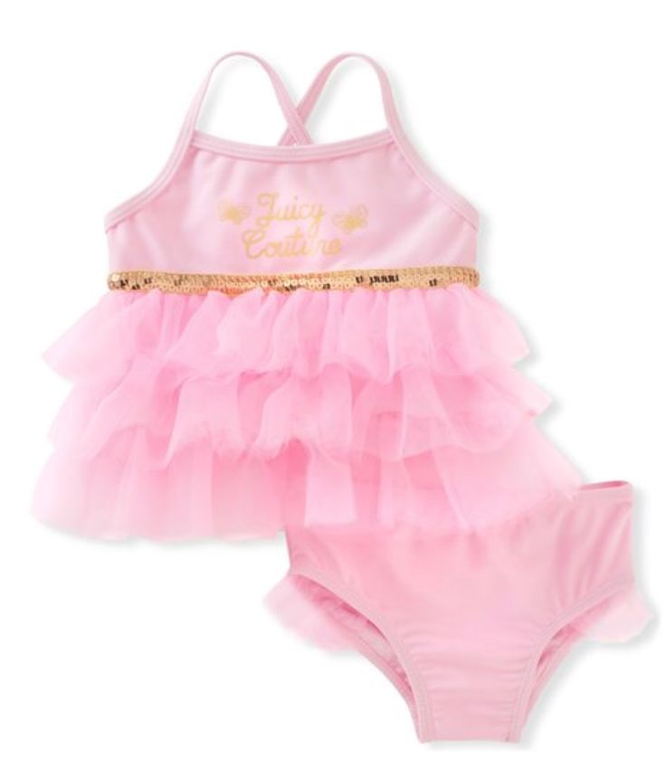 Juicy Couture Pink & Gold Tankini Top & Bottoms - Infant & Toddler | zulily