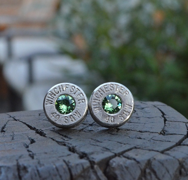 Bullet earrings stud or post, nickel silver Winchester .40 S Handcrafted with Swarovski crystals. $19.99, via Etsy.