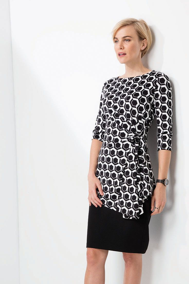 Mix it. Match it. The classic pencil skirt paired with a mock wrap geo print tunic. #monochrome