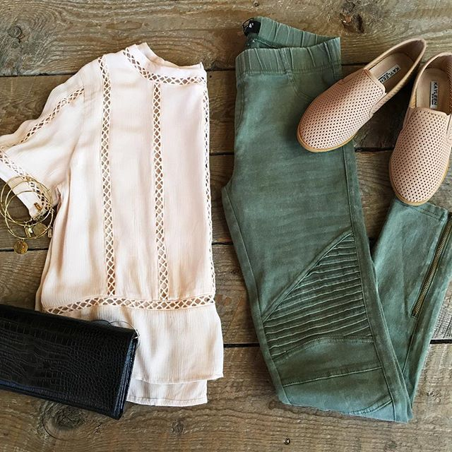 The perfect outfit for this weekend!  Shirt: $28.00 Leggings: $42.00 (available in several colors)  Shoes: $28.00 Clutch: $32.00  Bracelets: $12.00