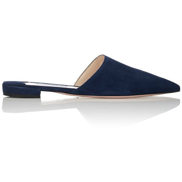 Prada Women's Suede Pointed-Toe Mules ($530) ❤ liked on Polyvore featuring shoes, navy, flat shoes, pointy toe flats, flat pumps, navy blue flat shoes and suede flat shoes