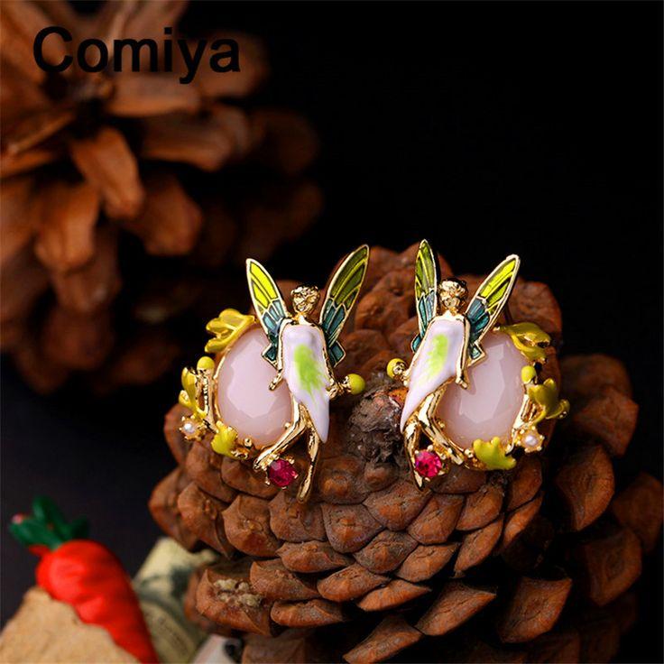 Comiya розовый имитация камень лист завод подвески фея серьги стержня для женщин золотое покрытие элегантный серьги красный горный хрусталь купить на AliExpress