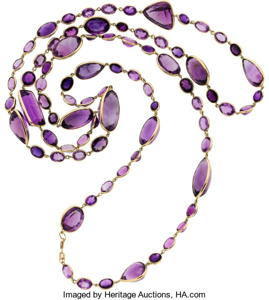 Amethyst, Gold Necklace featuring oval-, rectangular-, marquise-, pear-, and triangular-shaped Amethyst, set in 14k Gold. Gross weight 87.81 grams. Length: 48 inches
