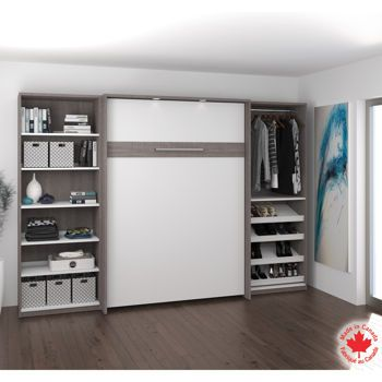 Bestar – Mobilier Cielo 3 pièces à lit 2 places escamotable gris