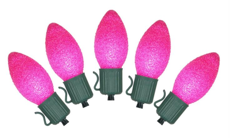 Set of 10 Battery Operated Sugared Pink LED C7 Christmas Lights - Green Wire