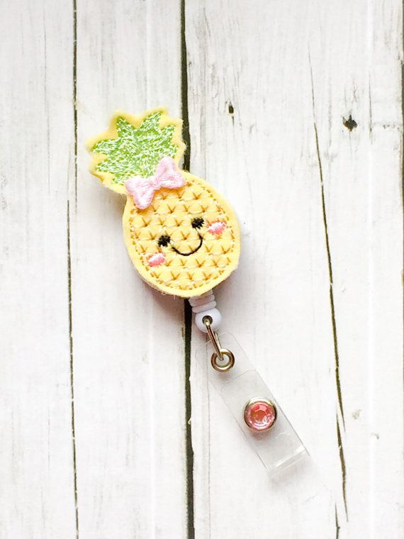 Cute Pineapple w /Bow Felt Name Badge Name by PrettieCuteBoutique