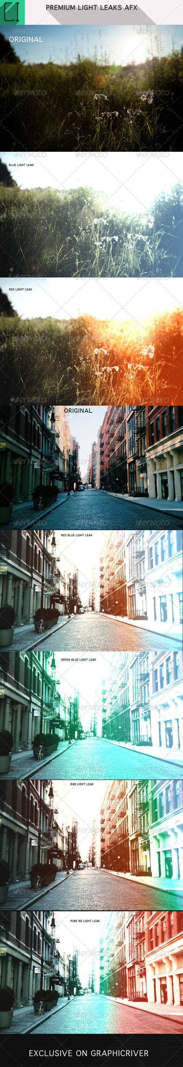 Premium light leaks photoshop afx
