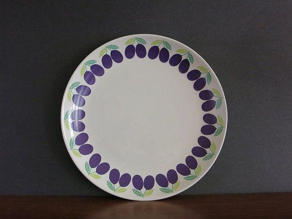Vintage Arabia Finland Pomona Plum Chop Plate by EightMileVintage
