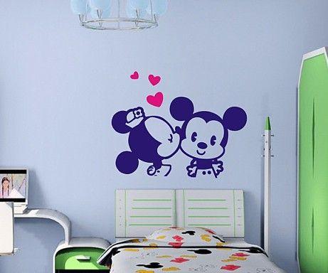 DIY módní Mickey Mouse kreslený samolepky na zeď dítě v reálném dekorace anime samolepky pro děti