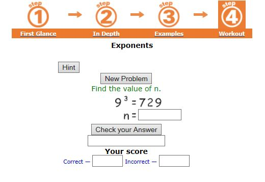 """This is an image from this resource on the Internet4Classrooms' """"Fifth Grade Interactive Math - Place Value and Exponential Notation"""" resource page:    Exponent Practice.    Try a workout of 10 problems. If you get at least 8 correct on your first attempt, then you're ready to move on. If not, review """"In Depth"""" and try again."""