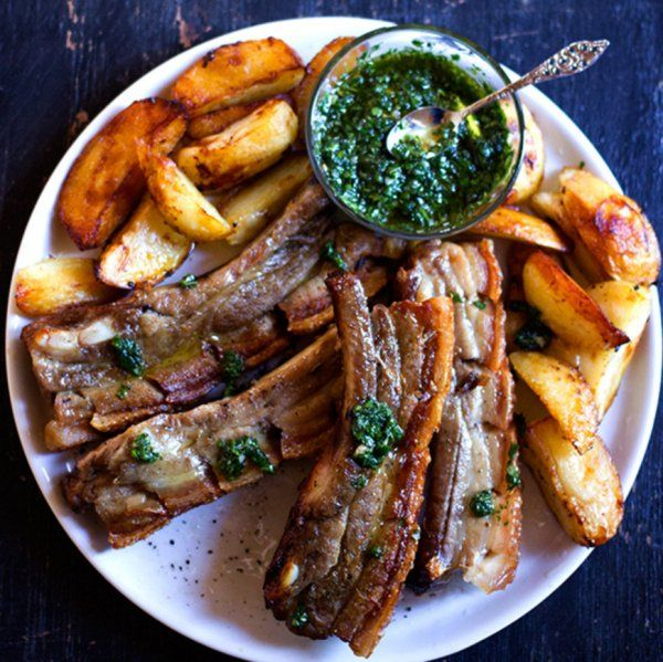 Crispy Pork Belly Ribs With Green Sauce And Honey Roasted Potatoes Recipe HERE