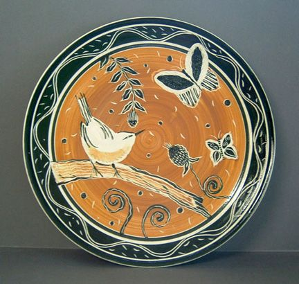 Amy Higgason sgraffito platter, Fire When Ready Pottery