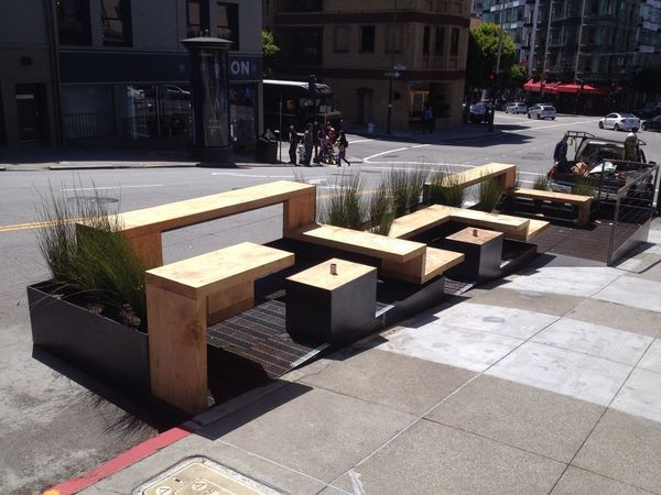 San Francisco Parklet  parklet  wood  steel   Vulume   Pinterest   Wood  steel  Public spaces and Pavilion. San Francisco Parklet  parklet  wood  steel   Vulume   Pinterest