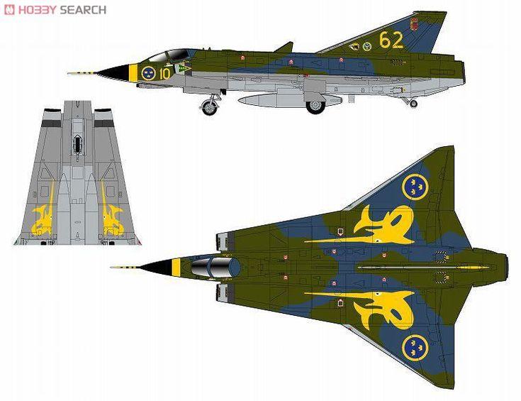 J35J Draken Swedish Air Force -Green Camouflage painted- (Plastic ...