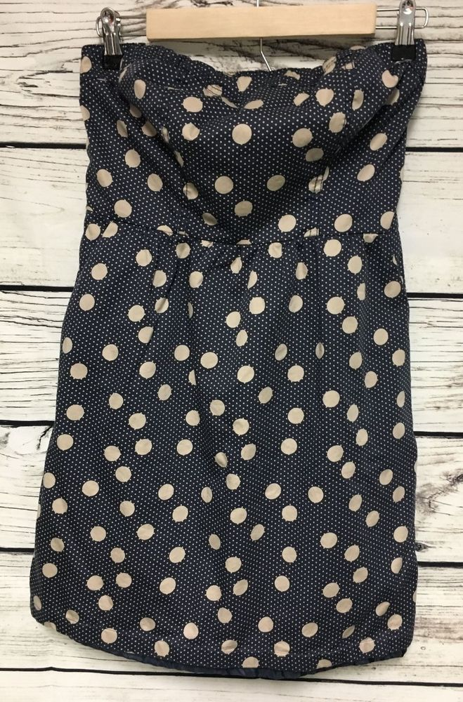 The Limited Size 4 Navy Blue Cream Strapless Polka Dot Party Dress Pockets #TheLimited #Strapless #Party