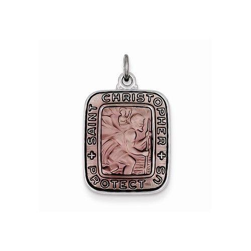 Sterling Silver Pink Enamel Square St. Christopher Medal Pendant