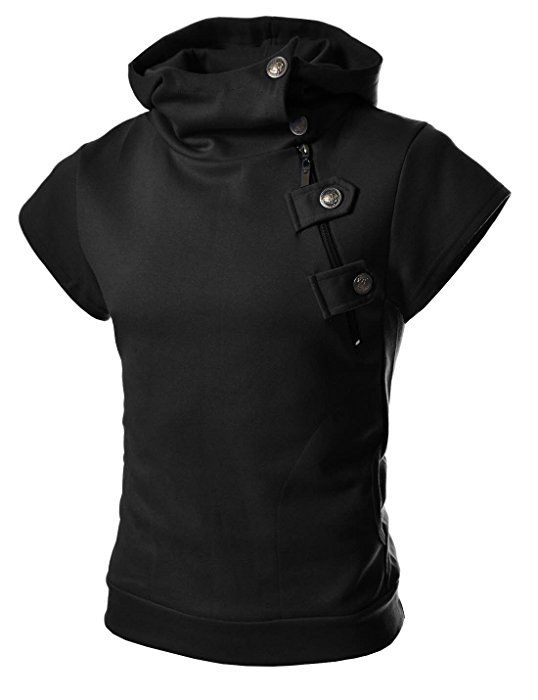 4BS Mens Casual Buckle Zipper Slim Hoodie Cotton Solid Short sleeve T-shirts BLACK US M(Tag size XL)