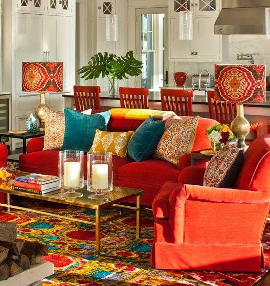 Eclectic Colorful Family Living Room Great Pop Of Color Design Ideas Pictures Remodel And Decor Style Styling Red Sofa Turquoise Teal Orange Rug Boho