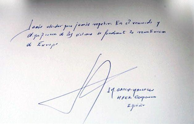 Mensaje de Don José Manuel García Margallo y Marfil, Ministro de Relaciones Exteriores y Cooperación de España, plasmado en el Libro de Visitas de Yad Vashem