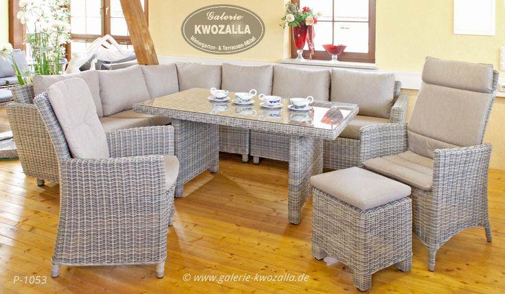 Gartenmöbel   Eck Loungegruppe + Gartensessel + Tisch + Hocker Aus  Polyrattan // Wetterfeste