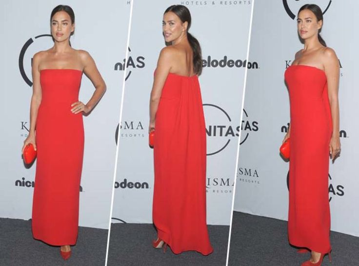 Irina Shayk : Robe bustier, minaudière, escarpins... on craque pour son total look rouge !