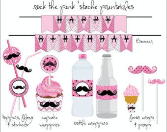 moustache party ideas for girls | Pink Mustache Party - Birthday Party Printables - Stache Bash ...