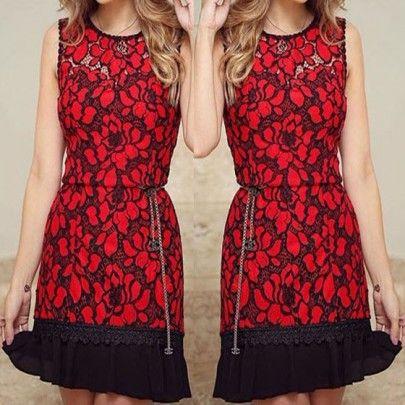 El cordón floral roja remiendo Negro Imprimir Hueco-hacia fuera de la colmena mini vestido