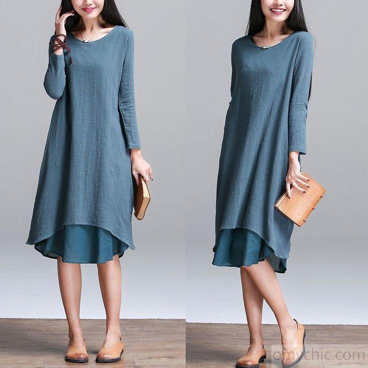 Long sleeves linen dress-Original Plus size layered sundress linen summer dresses oversize traveling dress