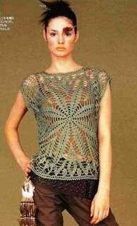 Receitas de Crochet: Bata ou Túnica. crochet top with diagram.