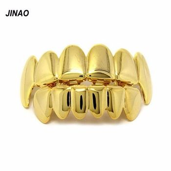 JINAO New Custom Fit Gold Plated Hip Hop Teeth Grillz Caps Top & Bottom Grill Set for Christmas Party vampire teeth Gold Grillz
