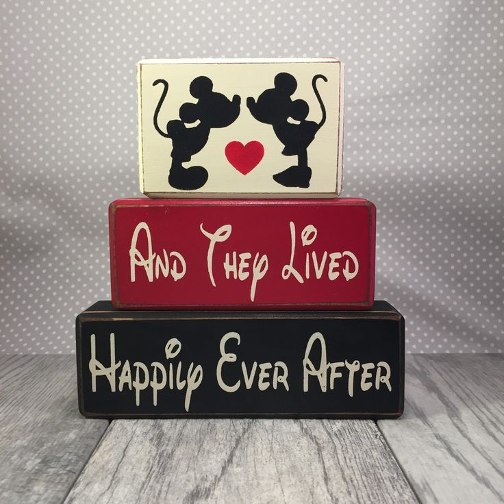 Mickey Minnie Mouse kissing wedding and they lived happily ever after engagement centerpiece primitive distressed rustic stacking blocks by AppleJackDesign on Etsy https://www.etsy.com/listing/164241958/mickey-minnie-mouse-kissing-wedding-and
