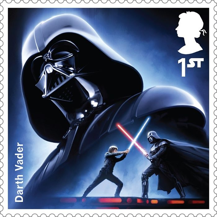 A Royal Mail stamp featuring Darth Vader