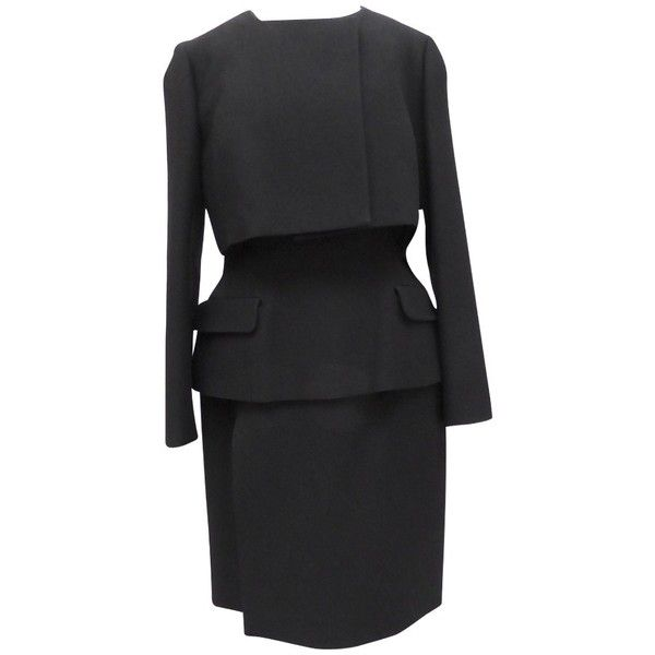 Pre-owned 3 piece suit (£1,040) ❤ liked on Polyvore featuring black, 3 pc suit, christian dior, 3 piece suit and three piece suit