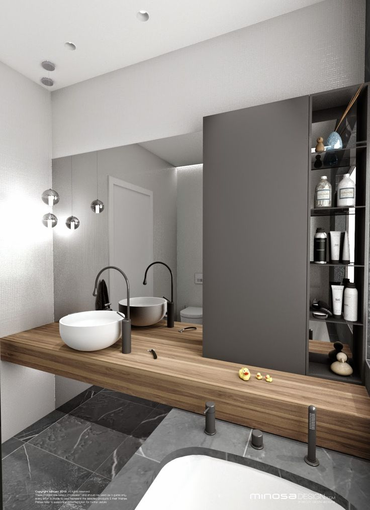 Art Exhibition This bathroom features the latest contemporary trends The grey hue plements the wooden elements perfectly