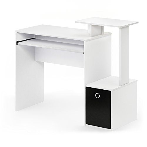 Furinno 12095wh Bk Econ Home Computer Desk With Shelves White