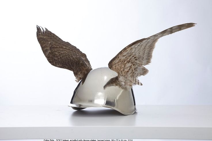 Artist: Zoltán Béla - I - 6683 (2014), 66 x 55 x 44 cm, WWII helmet, nickelled with chrome plating, buzzard wings