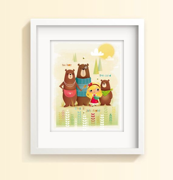 Nursery art Goldilocks and the three bears by IreneGoughPrints