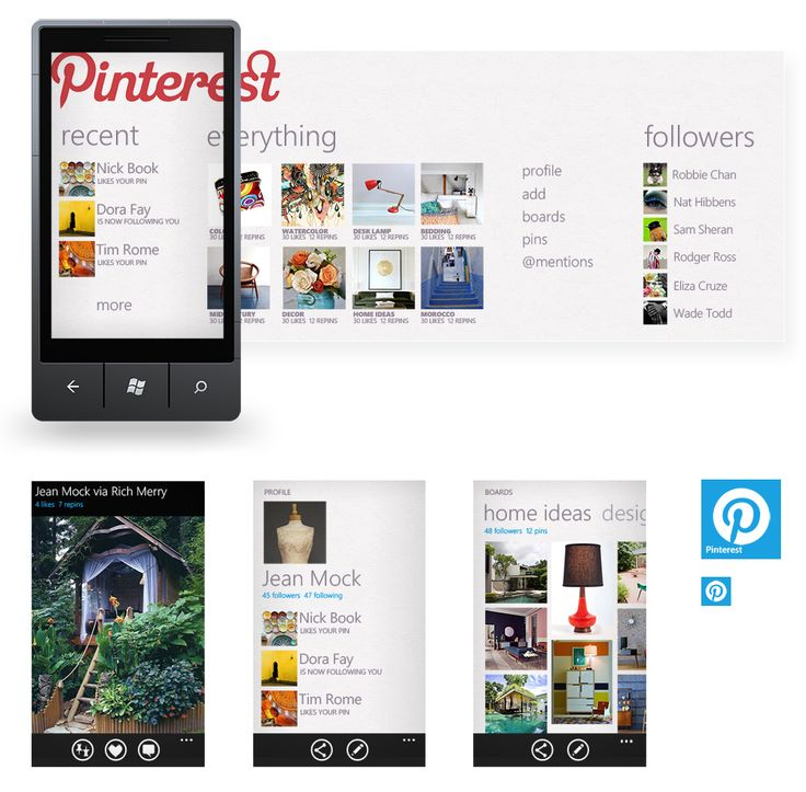 A concept for a windows phone 7 Pinterest app by Sara Summers. Looks cool!