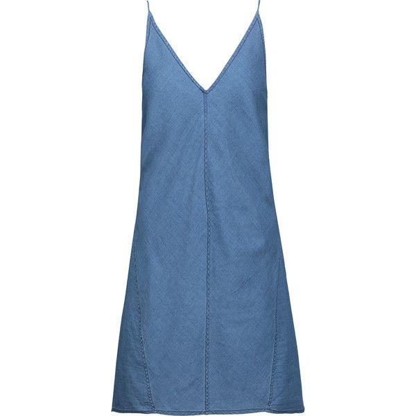 J Brand - Maryanne Cotton And Silk-blend Chambray Mini Dress ($99) ❤ liked on Polyvore featuring dresses, vestidos, mid denim, cotton silk dress, j brand, short blue dress, short dresses and blue dress