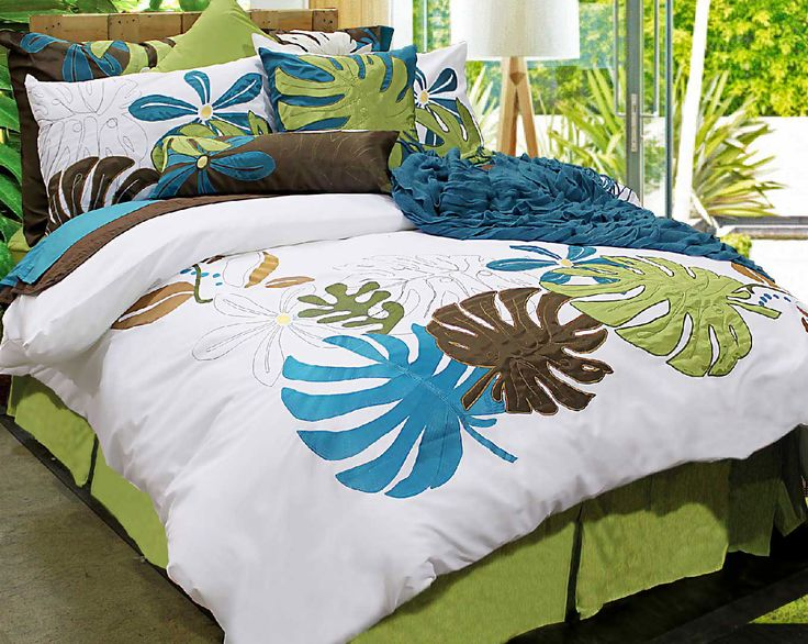 Island Dreams' big appliqués and bold embroidery are featured in summery shades of ebony, avocado, pear, lemon and ocean. Let Island Dreams transform your bedroom into your very own private island…a perfect place for rest and play!    Consists of 100% cotton with 100% polyester appliqués, 220 thread count, embroidery and appliqué.